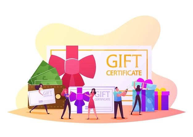 Счастливые люди шоппинг отдых. персонажи мужского и женского пола, покупающие вещи и подарки на праздники с использованием подарочного сертификата или купона на скидку, консьюмеризм, подарок. мультфильм люди векторные иллюстрации
