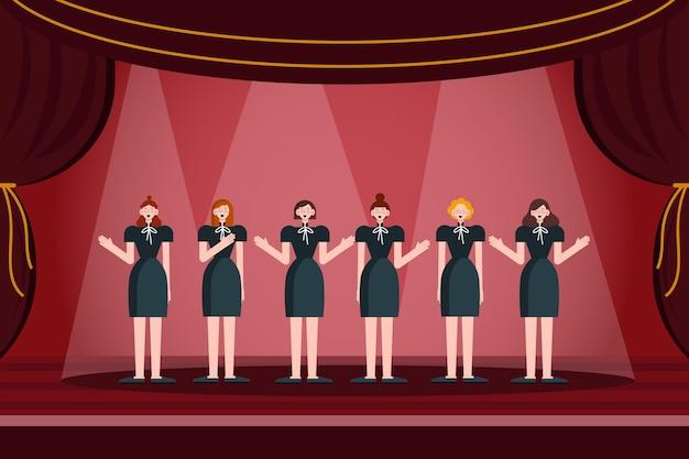 Счастливые люди поют в хоре госпел