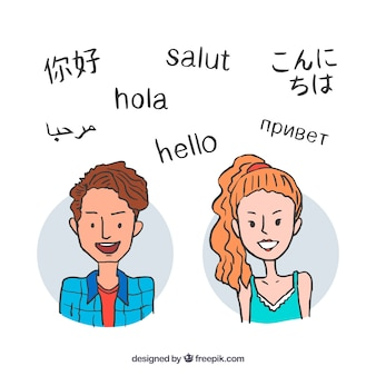 Happy people speaking different languages