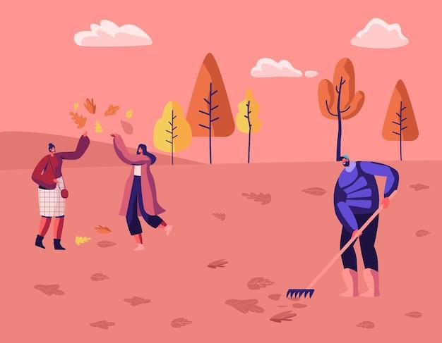 행복한 사람들은 가을 공원이나 숲에서 시간을 보냅니다. 타락 한 단풍을 가지고 노는 현대 캐주얼 여성. 만화 평면 그림