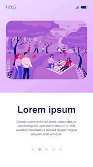 Happy people spending leisure time in pink cherry tree park illustration