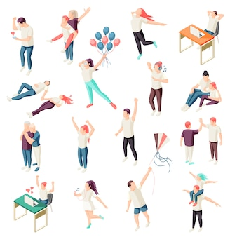 Happy people spending time together relaxing enjoying nature chat physical activity outdoor isometric icons collection