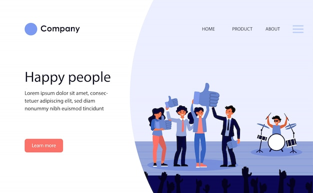 Happy people on stage showing likes. website template or landing page