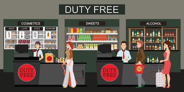 Happy people standing at the counter in duty free store isolated on white
