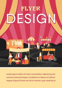 Happy people at street season flea market flat flyer template