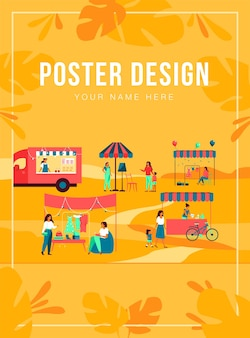Happy people at street season flea market poster template