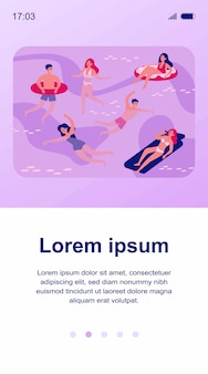 Happy people swimming in sea isolated illustration