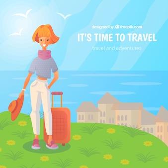 전 세계를 여행하는 행복한 사람들 무료 벡터