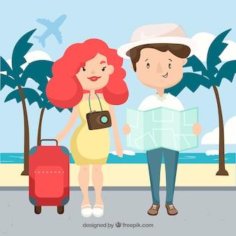 전 세계를 여행하는 행복한 사람들