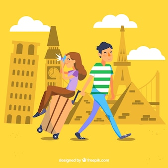 Happy people traveling around the world