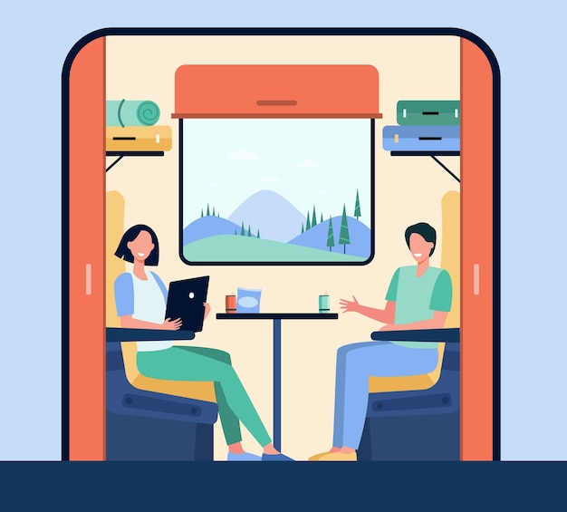 Happy people traveling by train flat illustration. cartoon characters sitting near window during trip or journey.