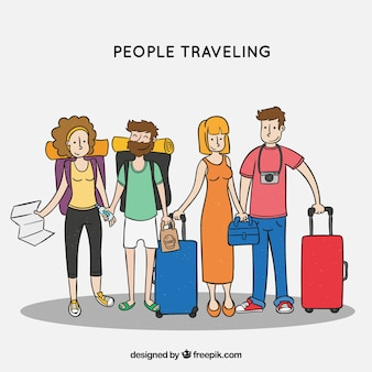 Happy people traveling