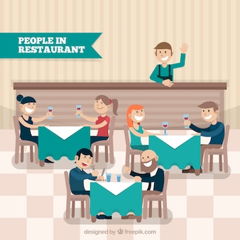 Happy people and waiter in restaurant