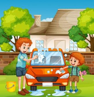 Счастливые люди моют машину