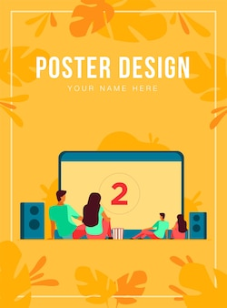 Happy people watching movie outdoor at big screen poster template