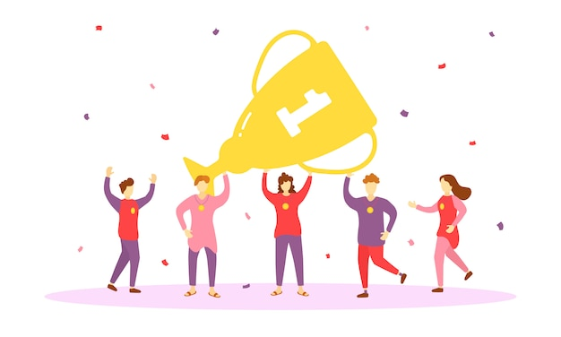 Happy people win the gold cup, characters dance and celebrate the victory. team with golden cup prize, people celebrating victory, leadership achievement, triumph. reward presentation winners.