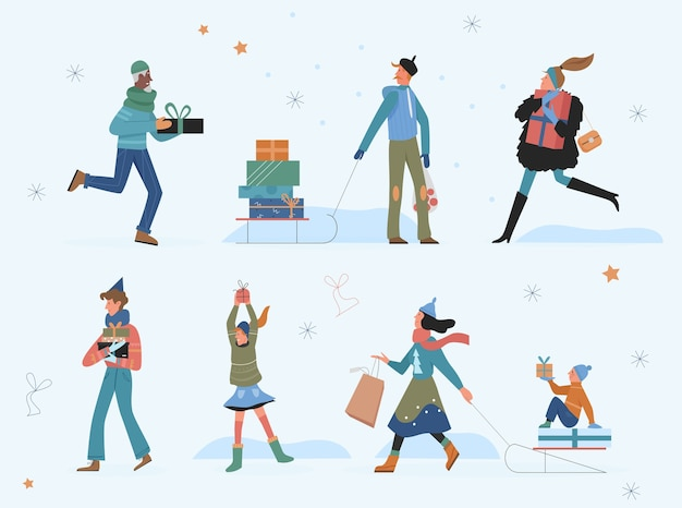 Happy people with christmas gifts illustration.