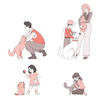 Счастливые люди с иллюстрацией шаржа домашних животных. люди заботятся и играют с домашними животными.