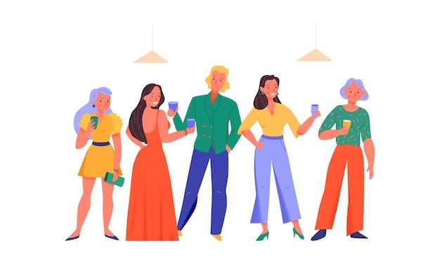 Счастливые люди с напитками на вечеринке плоской иллюстрации