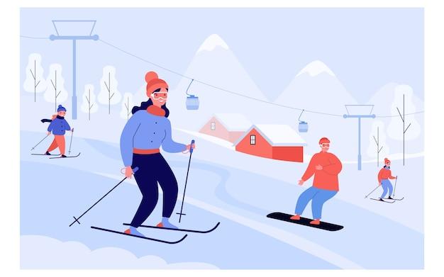 Счастливые люди с детьми на лыжах и сноуборде мимо лифта в горах. туристы наслаждаются отдыхом на горнолыжном курорте. иллюстрация для концепции деятельности зимних видов спорта