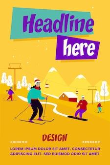 Счастливые люди с детьми на лыжах и сноуборде мимо лифта в горах. туристы наслаждаются отдыхом на горнолыжном курорте