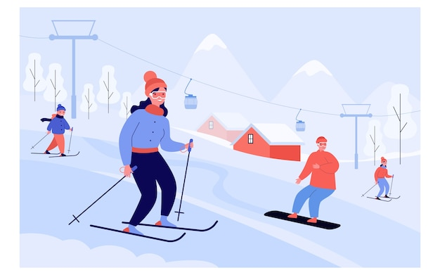Happy people with kids skiing and snowboarding past elevator in mountains. tourists enjoying vacation at ski resort.  illustration for winter sport activity concept