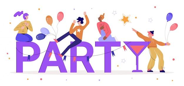 Счастливые люди с иллюстрацией слова партии. мультяшные крошечные взрослые мужчины-женщины-персонажи пьют коктейли, группа молодых друзей веселится вместе и наслаждается праздничной вечеринкой на белом