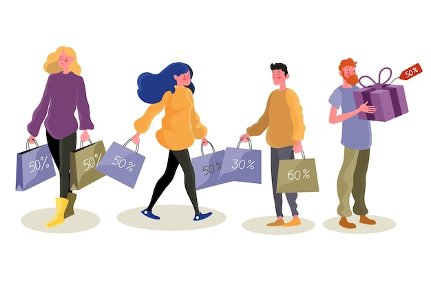 Persone felici con i prodotti nelle loro borse