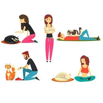 Happy people with their cats set, cute pets with their owners cartoon  illustrations  on a white background
