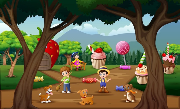 Happy people work in the sweet land Premium Vector