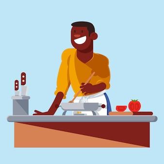 Счастливый человек готовит иллюстрацию