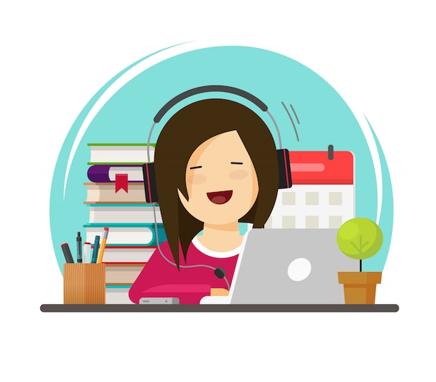 Happy person studying or working on desk on workplace via laptop flat cartoon
