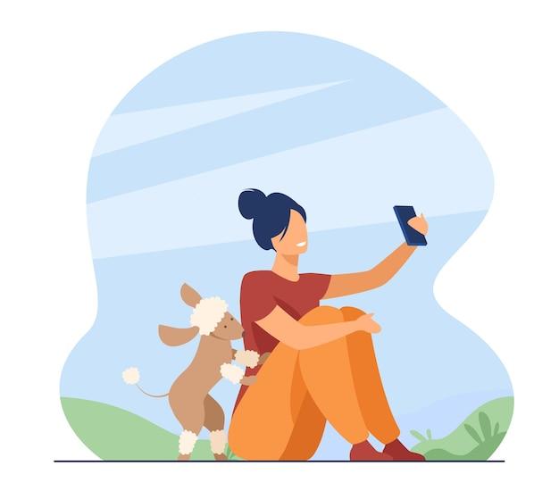 야외에서 selfie를 복용하는 행복 한 사람. 공원에서 그녀의 강아지와 함께 시간을 즐기는 여자. 만화 그림