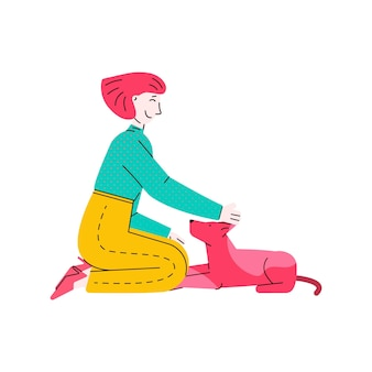 Happy pet owner petting her dog  young cartoon woman sitting down with animal