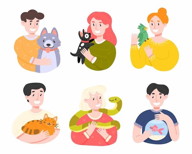 Happy pet owners cartoon illustration set on white background