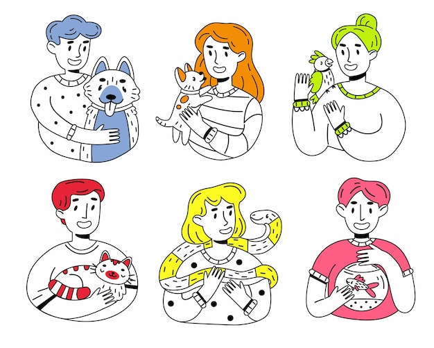 Happy pet owners outline cartoon illustration set on white background