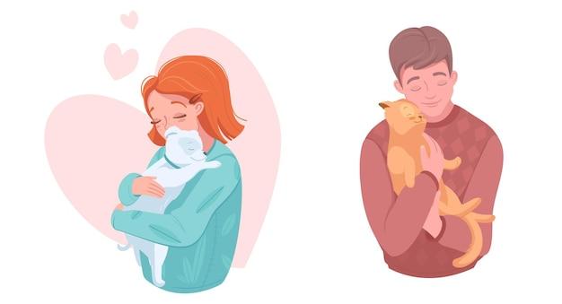 子犬と子猫、ベクトルイラストと幸せなペットの所有者。犬、猫を抱き締める少女と少年。家畜の世話、愛。