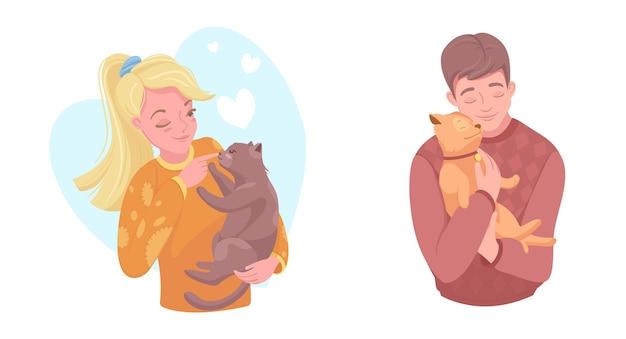 Счастливые владельцы домашних животных с щенком и котенком, векторные иллюстрации. девочка и мальчик ласкают собаку, кошку. забота, любовь к домашним животным.