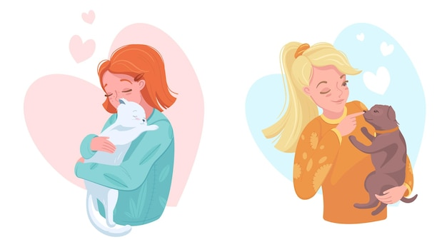 Happy pet owners with puppy and kitten, vector illustration. girls petting dog and cat. domestic animals care and love.