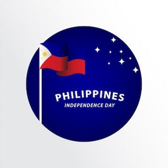 幸せなフィリピン独立記念日のお祝いテンプレートデザインイラスト