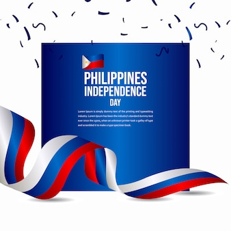Happy philippines independence day celebration vector template