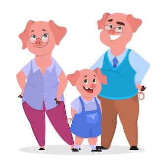 Счастливая семья свиней в одежде. мать, отец и ребенок