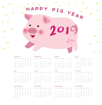 Happy pig new year 2019 calendar vector