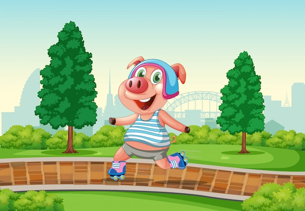 Happy pig playing roller skate at the park