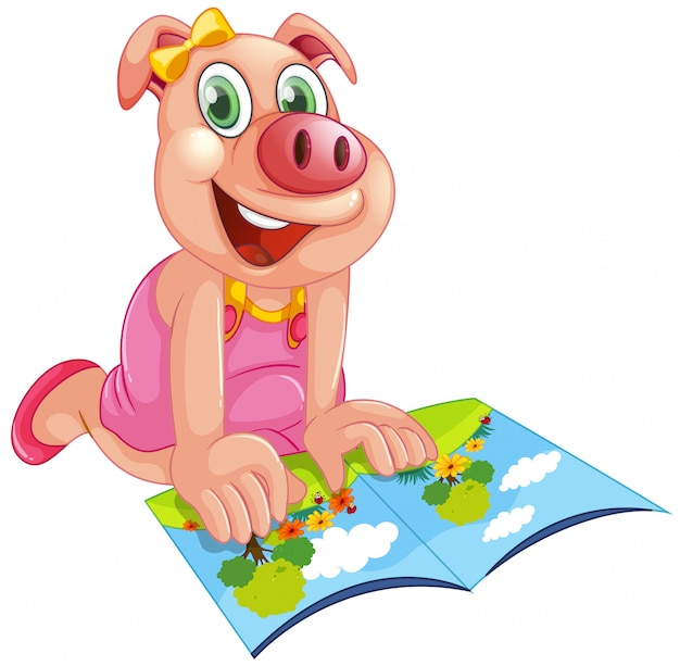 Happy pig reading a book