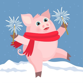 Happy pig with firework