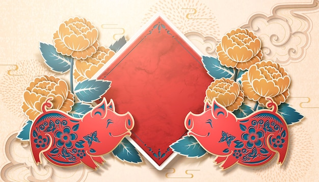 Happy pig year with blank spring couplet and peony decorations in paper art style