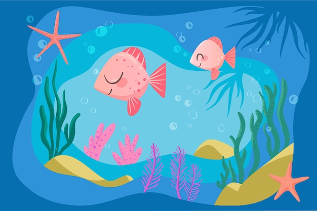 Happy pink fish background for online video conferencing