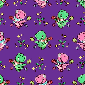 Happy pink and green dinosaur with presents seamless pattern in violet background