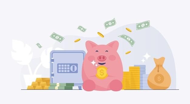 金庫で投資を節約する幸せなピンクの貯金箱。ベクトルイラスト
